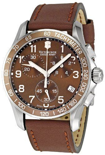 Victorinox Swiss Army Men's 241151 Chrono Classic Brown Dial Watch Victorinox Swiss Army. $259.00. Quartz movement. Water-resistant to 330 feet (100 M). Case diameter: 40 mm. Antireflective-sapphire crystal. Stainless-steel case. Save 42%!