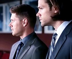 """Their faces upon discovering Supernatural, The Musical. TOO PERFECT. Dean looks at Sam like """"you're seeing this too right? I'm not crazy?"""""""