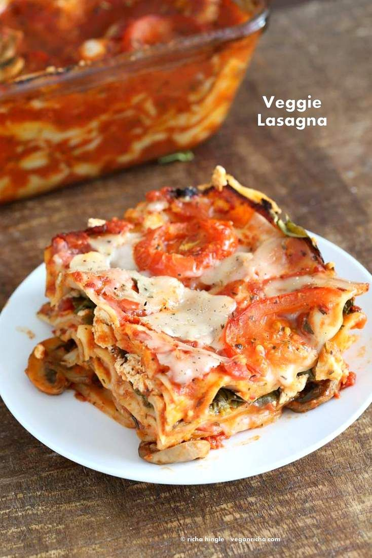 Vegan Veggie Lasagna. Easy Lasagna for 2 with herbed mushrooms, greens, tofu thyme ricotta, chao cheese slices . Vegan Recipe. Can be gluten-free.