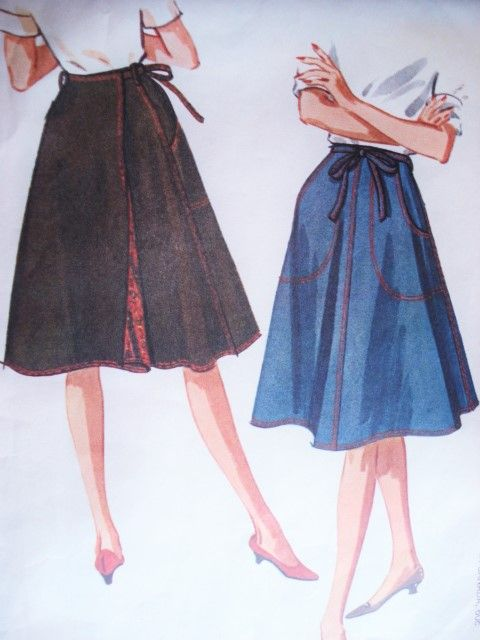 1960s Fab Wrap Around Skirt Pattern Mccalls 6665 Lined