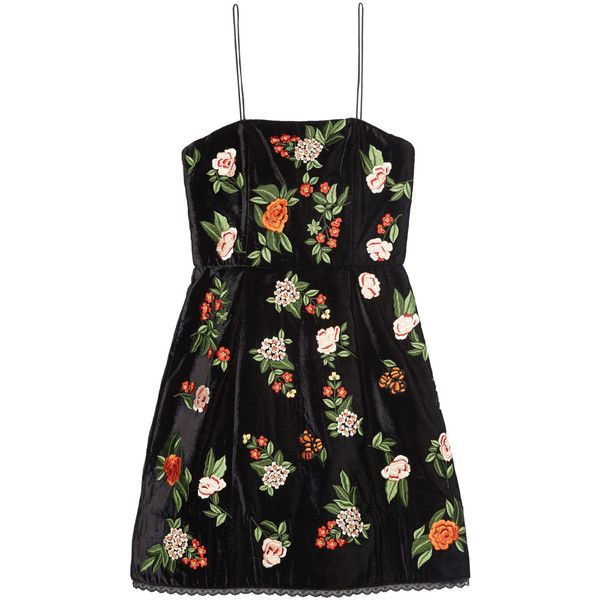 Launa Embroidered Spagehtti Dress | Alice + Olivia ❤ liked on Polyvore featuring dresses, broderie dress, embroidered dress, embroidery dress and alice olivia dress