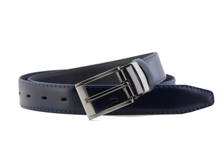 Nice navy blue belt with blue thread Świetny granatowy pasek obszyty niebieską nicią