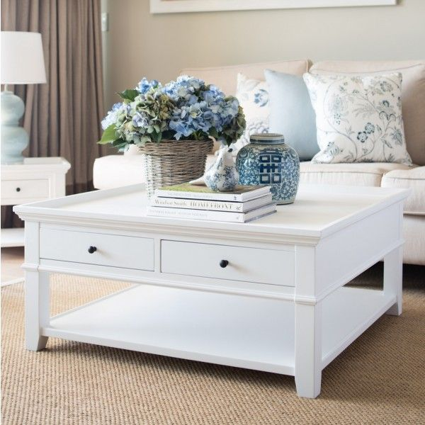 White Square Coffee Table Hamptons Style Living Room Hamptons