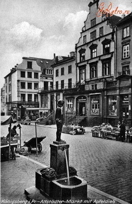 Скульптура яблочный вор на главной рыночной площади. Фонтан Евы (EvaBrunnen)…