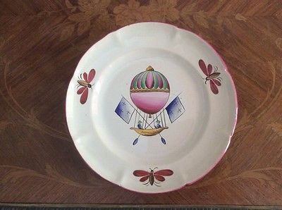 Antique-Hand-Painted-French-Faience-Hot-Air-Balloon-Plate-c-1800s-ff505
