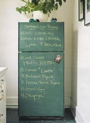 chalkboard fridg...uh duh!  **maybe cover fridge w/ contact paper before painting - just in case?
