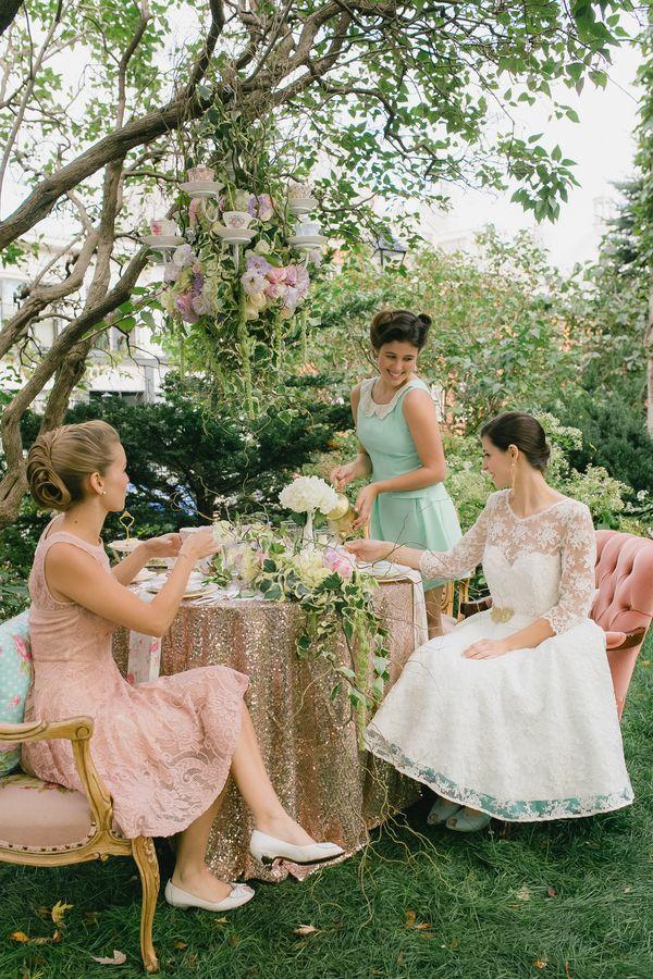 Retro vintage pastel bridal shower wedding tea party