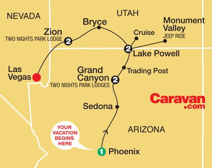 Grand Canyon Tour Map (Caravan Tours)
