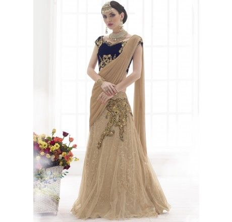 Designer embroidered cream lehenga choli (semi stitched)