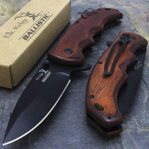 """This Elk Ridge multi-purpose spring assisted knife works great for any task. It features a sharp and durable 3.5"""" black stainless steel blade. The 4.75"""" sm"""