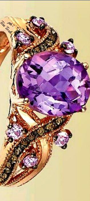 ❇Téa Tosh❇Le Vian, Pink Amethyst®, Chocolate Diamonds®,set in 14k. Strawberry Gold®