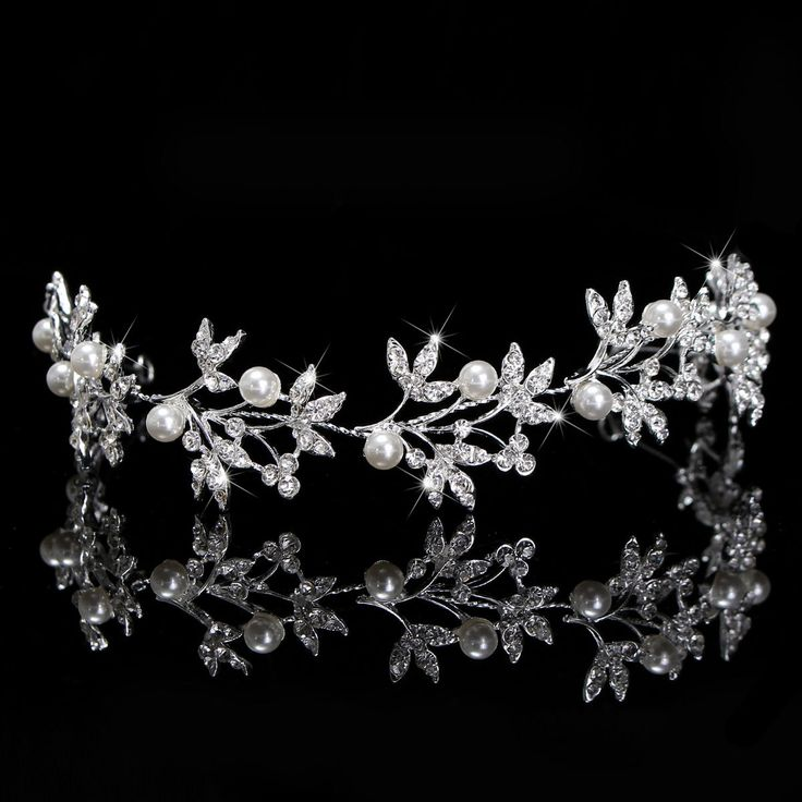 13.54$  Buy now - http://virre.justgood.pw/vig/item.php?t=6mdlrw33548 - Bride Pearl Rhinestone Leave Shape Headpiece Bridal Hair ornaments Tiara Wedding