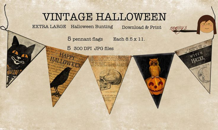 Halloween Bunting Pennant Flags Download Print 5 8.5 x 11 LARGE. $4.50, via Etsy.