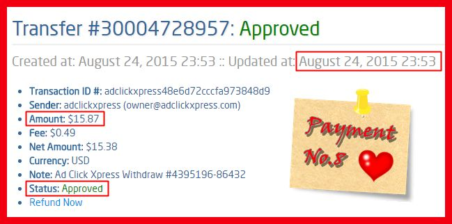 I WORK FROM HOME less than 10 minutes and I manage to cover my LOW SALARY  INCOME. If you are a PASSIVE INCOME SEEKER, then AdClickXpress (Ad Click Xpress) is the best ONLINE OPPORTUNITY for you Here is my Withdrawal Proof from AdClickXpress. I get paid daily and I can withdraw daily. Online income is possible with ACX, who is definitely paying  No scam here.  http://www.adclickxpress.com/?r=2skgbgyth3z&p=mx