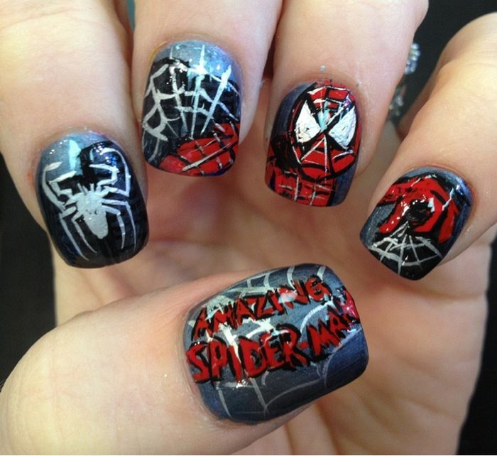 26 best spider man nails images on pinterest enamel enamels and 30 amazing spiderman nail art designs ideas you can try at home now prinsesfo Choice Image