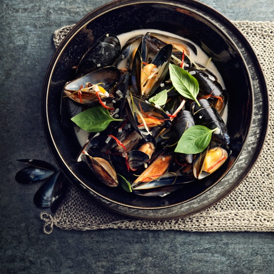Coconut, Ginger and Kaffir Lime Mussels.