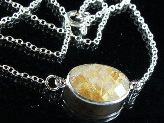 Rutile Quartz Necklace Sterling Silver yellow gemstone