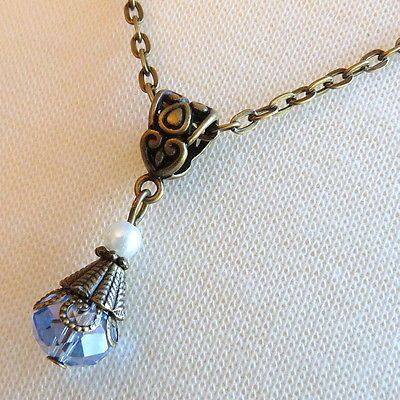 Art-Nouveau-Downton-Abbey-Inspired-Light-Blue-Crystal-Earring-amp-Necklace-Set
