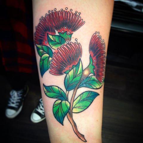 Pohutukawa flowers tattooed last week.  #tattoo #newtattoo #pohutukawa #pohutukawaflower #pohutukawatattoo #flower #flowertattoo #colourtattoo #floraltattoo