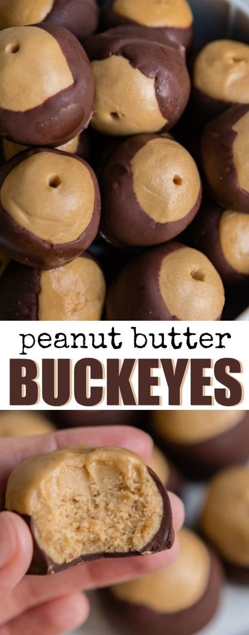 An easy Peanut Butter Buckeyes recipe. While popular in Ohio, The Buckeye State, anyone can get excited about peanut butter balls dipped in melted chocolate!