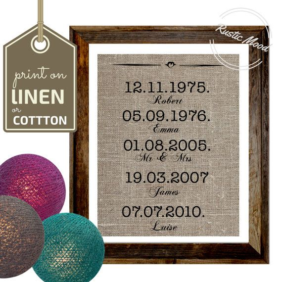 Important Dates  Burlap Print I  Family dates sign I by RusticMood