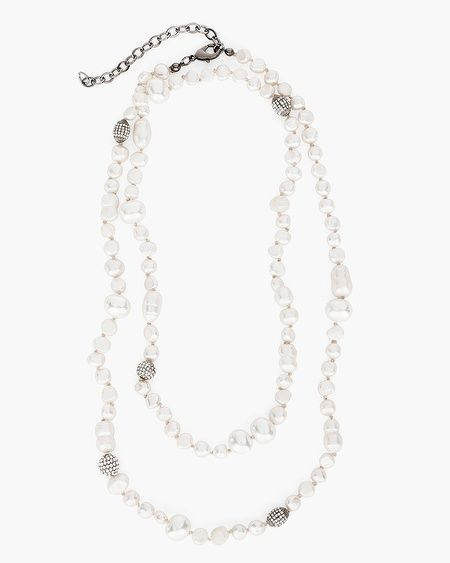 Because the classics will always have a place in our wardrobes. This freshwater pearl necklace draws inspiration from the ocean with richly rendered fireball accents.  A limited-edition, collectible piece inspired by our artisans' extraordinary adventures.  Cultured pearls, metal and glass.  Imported.