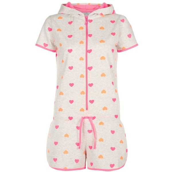 Neon Pink and Orange Heart Print Short Onesie (185 EGP) ❤ liked on Polyvore featuring intimates, sleepwear, onesie, pyjamas, summer sleepwear and short sleepwear