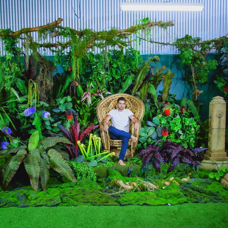 Studio 8 Textural Canvas Studio Sydney Props Photo Studio - garden, jungle, set, luscious, green, astro, peacock chair, woven cane high back chair