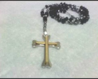 """Black Rosary with 6mm with Black Crystals, 43"""" Pam Jewelry. $95.99. The quality of this rosary is outstanding.. Free shipping and free gift box and free gift wrapping with this purchase.. The crucifix is 3"""" x 2"""" long.  It is stainless steel.. The crystals are faceted and light shines brilliantly through them.. The reinforced coil this necklace is made from is one of the strongest on the market today.. Save 45%!"""