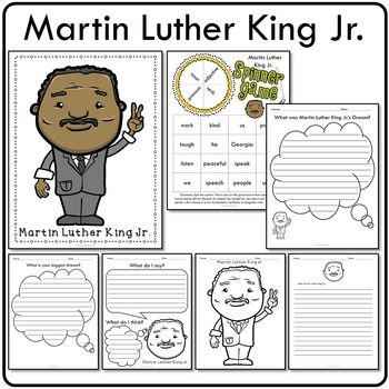 6 Martin Luther King Jr activities & 1 poster - easy writing prompts, part of speech spinner game, coloring page, and full-color poster! Great supplemental resources for Martin Luther King Day! Best fit for 1st/2nd/3rd graders.