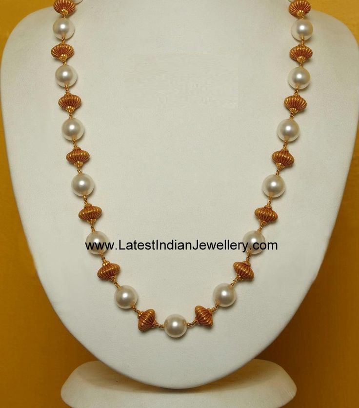 Simple Pearl and Gold Beads Long Chain | Latest Indian Jewellery ...