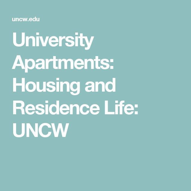 University Apartments: Housing and Residence Life: UNCW
