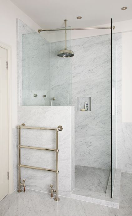 Charlie Kingham | Bathroom | Traditional Bespoke styled Carrara Marble Shower with vintage taps and radiators.