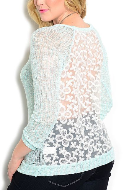 This Hot Seller has just been Re-Stocked! We keep selling out!  JUNIORS PLUS SIZE Sheer Mint Top with White Lace Back! $23.90 Tags! - 5dollarfashions.com