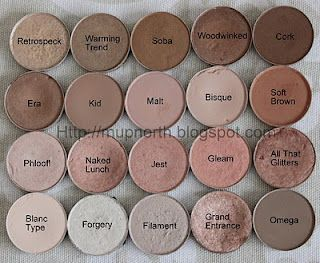 mac eyeshadow - love  neutral colors.  must have quad: Naked Lunch (lid), Soft Brown (crease blending), Teture (deep crease), and Swiss Chocolate (outer V). I