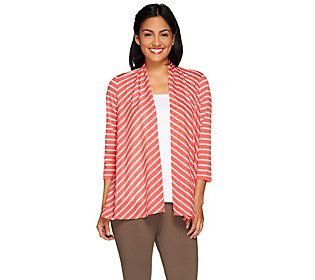 Susan Graver Weekend Striped Novely Knit 3/4 Sleeve Open Front Cardiga