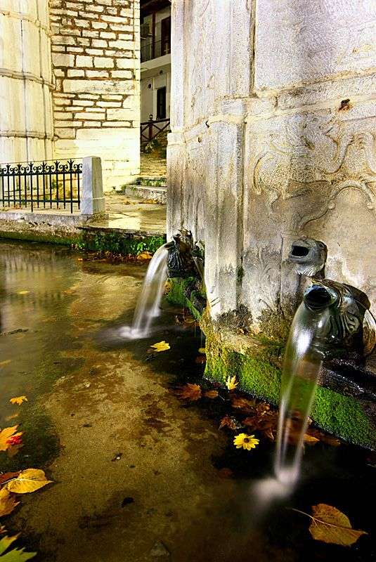 This is my Greece | In the central square of the beautiful village of Makrinitsa in Pelion, right beside the old church of Saint John, you can see this beautiful fountain, built in 1809