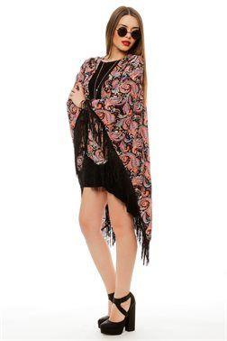 Paisley Print Fringed Kimono - ΡΟΥΧΑ -> Kimono & Jackets   Made of Grace