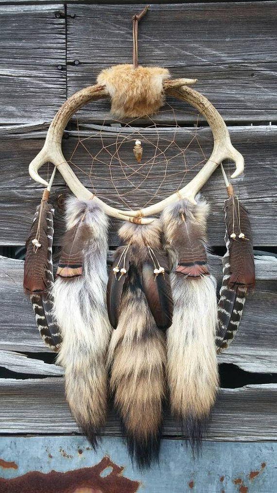 XL Deer Antler Dream Catcher w/ Coyote by WoodlandRelicsByStef