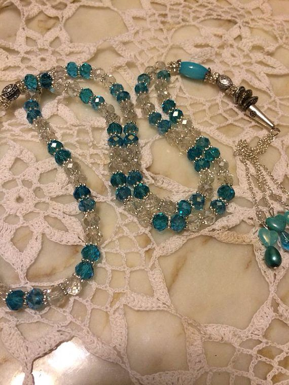 Turquoise with clear prayer beads with silver 99 prayer beads on Etsy, $18.99