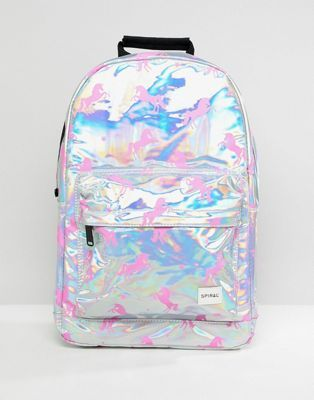 7e3c8a8ca4 Spiral Holographic Backpack With Pink Unicorn Print in 2019
