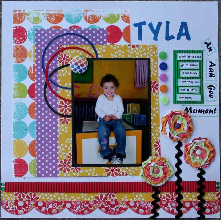 My cutesy layout with lots of bright colours and patterns