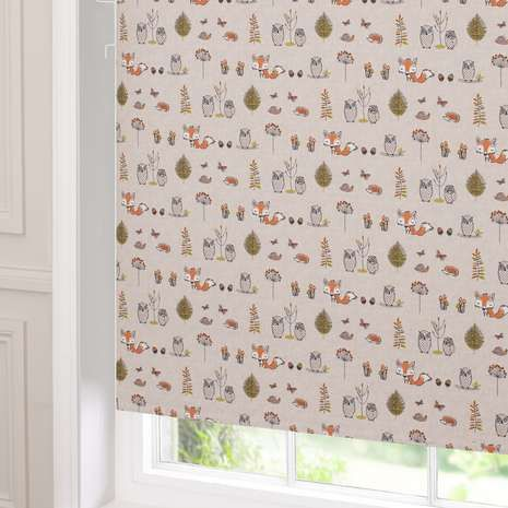 Woodland fox blackout cordless roller blind baby bedroom for Space fabric dunelm