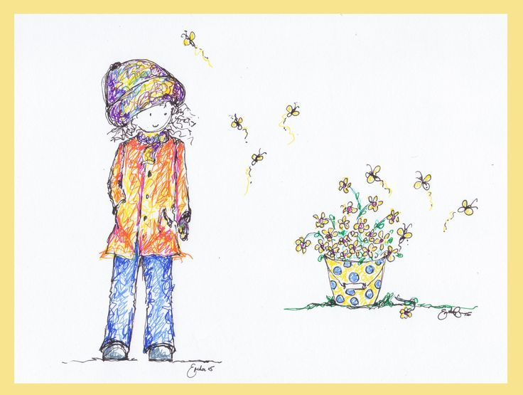 Girl with a Bucket of Flowers - Erika Reid Illustrations