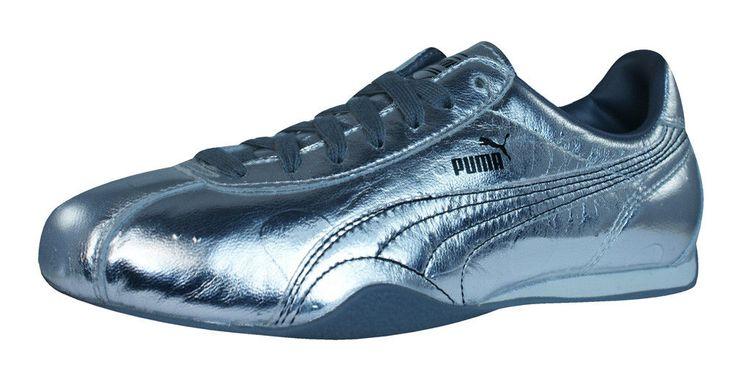 Puma Barnett Vintage Met Womens Leather Sneakers / Retro Sports Shoes - Silver