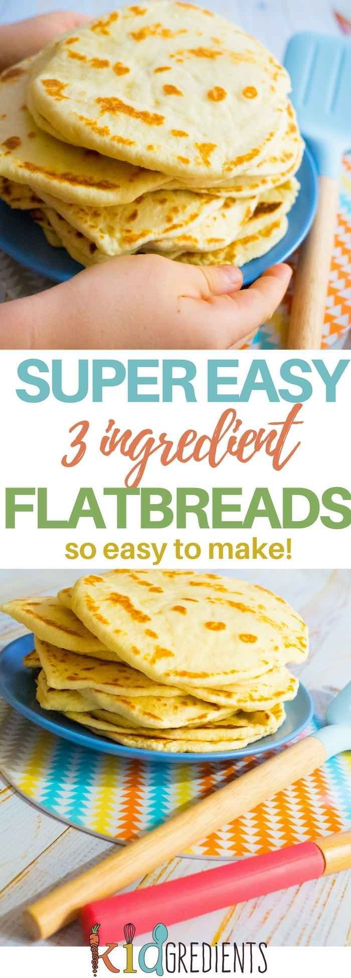 3 ingredient flatbreads, so easy to make, freezer friendly and kid friendly! No rising, no waiting, no baking just quick and simple! #kidgredients #kidsfood #bread #flatbreads #easy  via @kidgredients