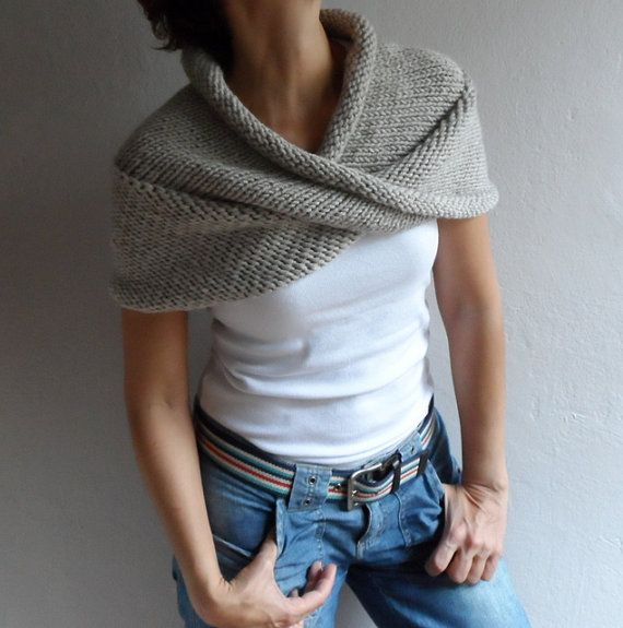 Hand Knit Chunky Loop Scarf ,Cape Hood Cowl Shawl Neckwarmer Neutral Beige winter accessory