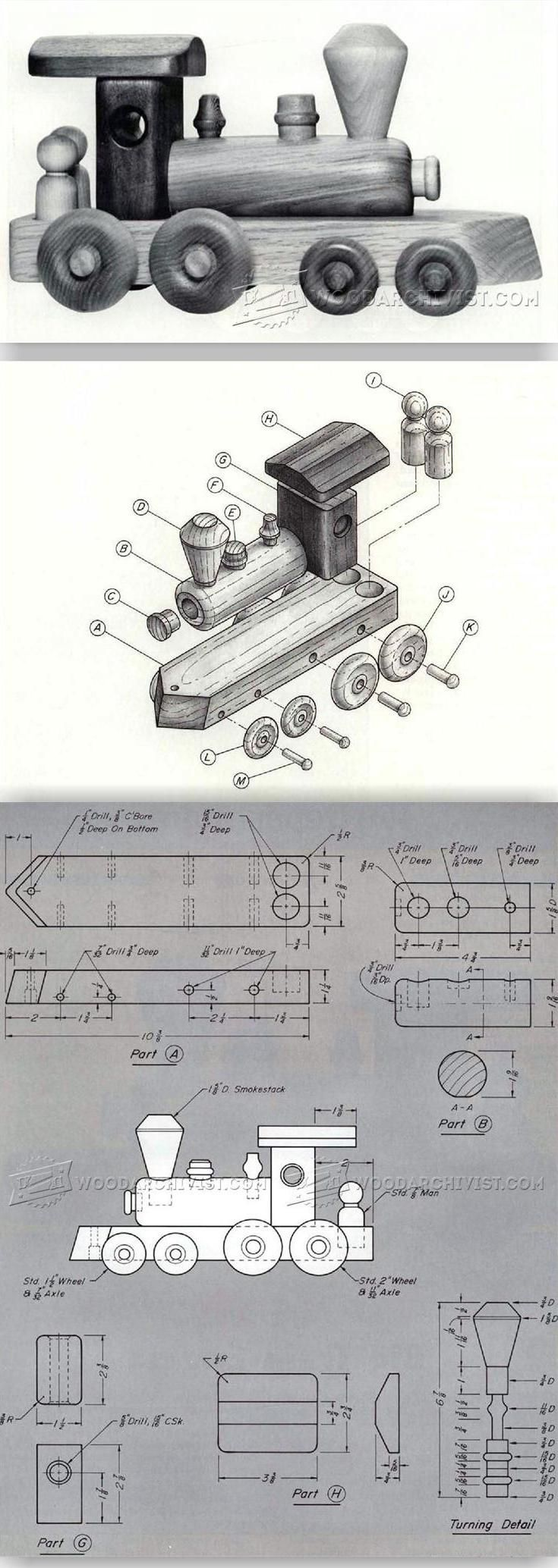 Wooden Toy Train Plans - Wooden Toy Plans and Projects | WoodArchivist.com