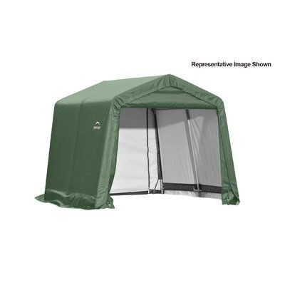 Peak Style Shelter Color: Grey, Size: 8' x 20' x 8' by ShelterLogic. $525.41. 76870 Color: Grey, Size: 8' x 20' x 8' Features: -Peak style shelter.-Bolt-together hardware at every connection point ensures maximum strength and durability.-Ratchet tite tension system and easy-glide sliding cross rails keep the cover smooth and taught.-Universal steel foot plates for easy and solid connection to ground anchors, cement or pony walls.-Front and back zippered doors for easy-acc...