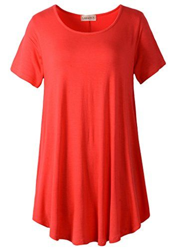 LARACE Women Short Sleeves Flare Tunic Tops for Leggings Flowy Shirt (2X, Red)  Special Offer: $14.99  300 Reviews Size Chart S: bust: 35.43″, length: 31.5″, sleeves: 6.30″ M: bust: 37.01″, length: 32.28″, sleeves: 6.69″ L: bust:38.58″,...